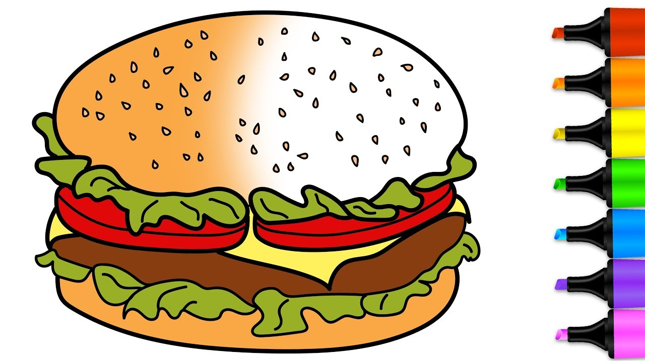 Chicken food drawing at. Burger clipart colored
