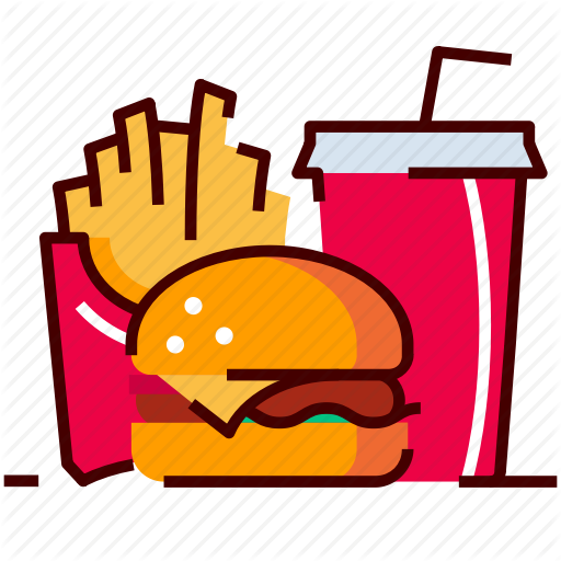 Fast food cafe by. Burger clipart colored