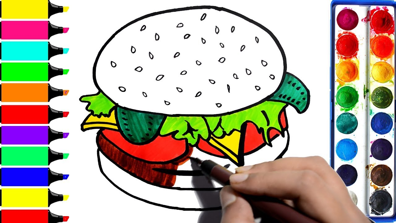 Burger clipart colored. Chicken coloring pages how