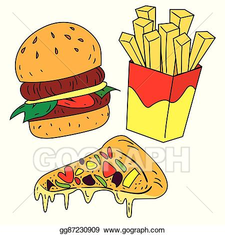 Vector illustration fast foods. Burger clipart colored