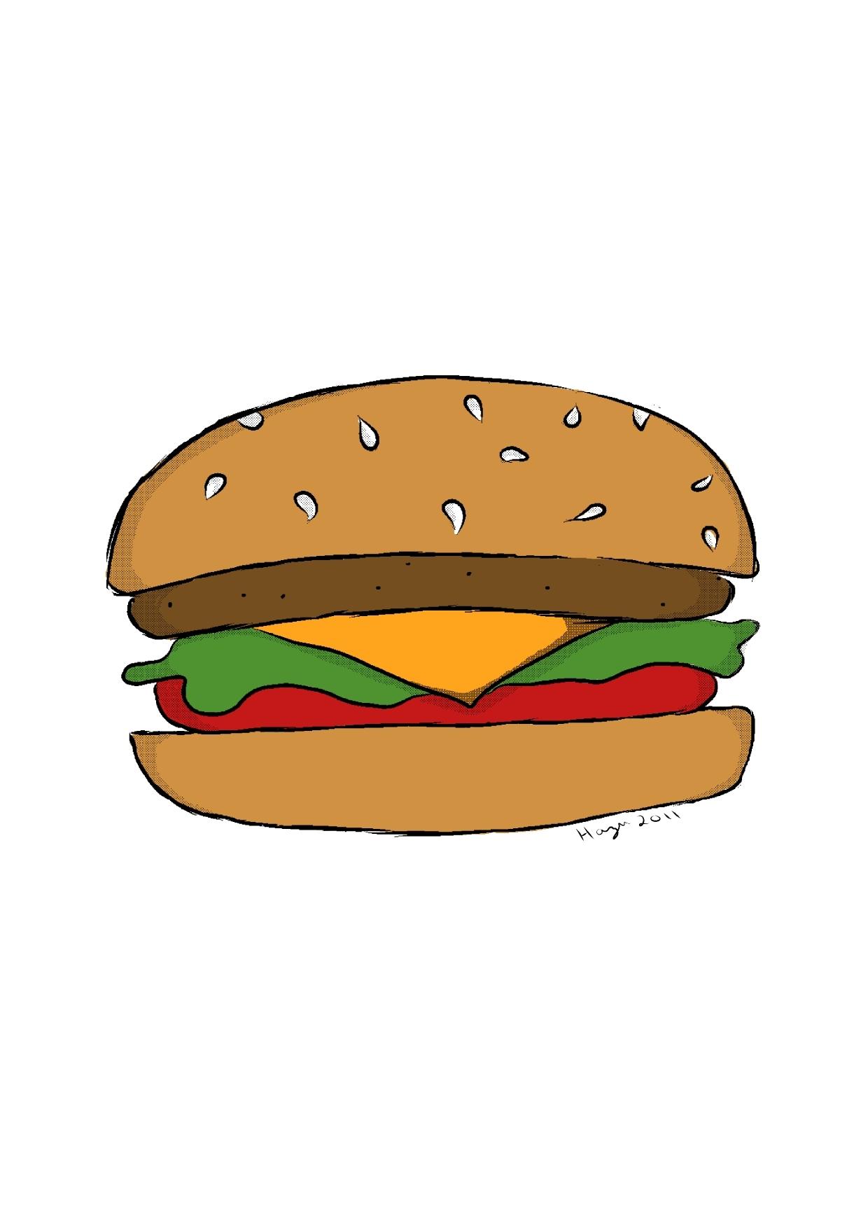 Burger clipart colored. Cheeseburger by hazuhazuheavn on