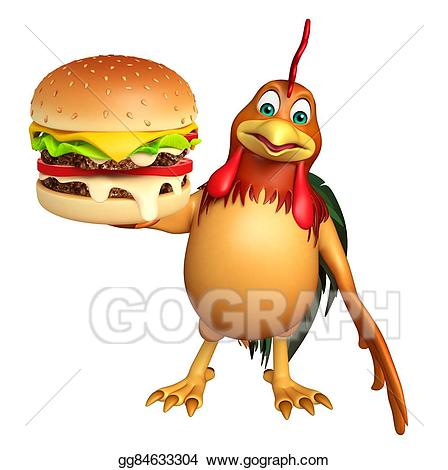Burger clipart cute. Stock illustration chicken cartoon