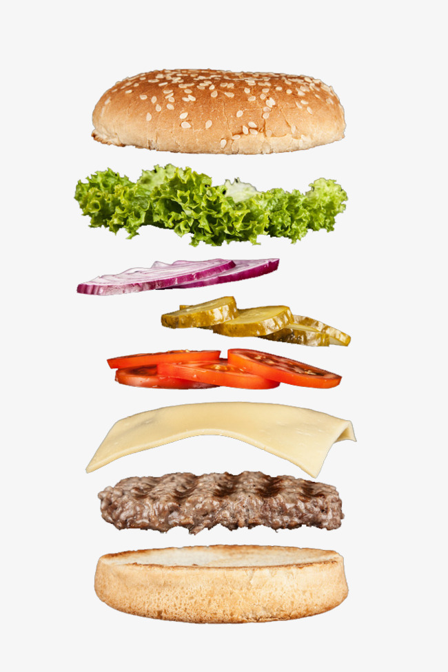 Burger clipart cute. Layered hamburger western fast
