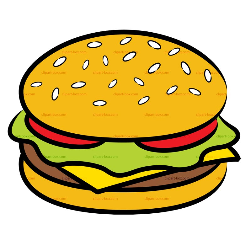 Coloring pages to print. Burger clipart cute