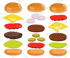 Burger clipart deconstructed. Burgers pinterest hamburgers lettuce