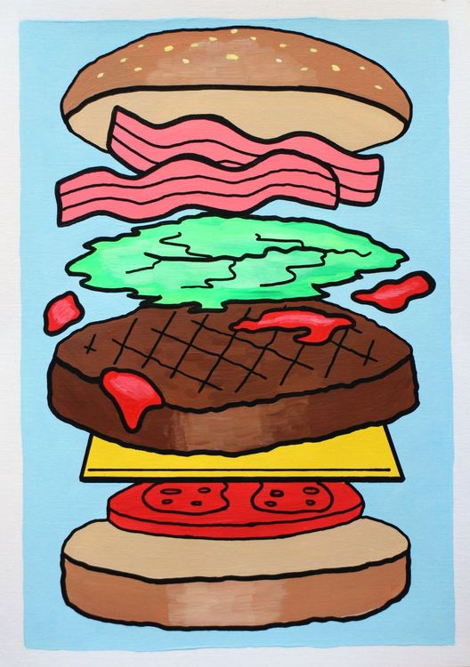 Pop art painting on. Burger clipart deconstructed