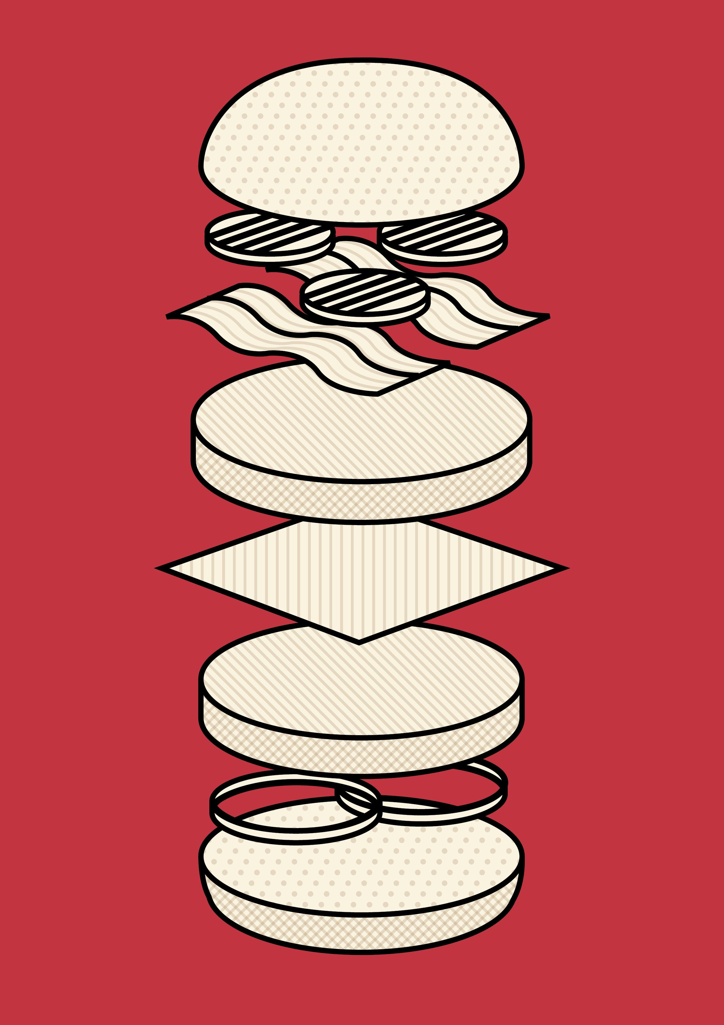 Burger clipart deconstructed. Illustration freelance graphic designer