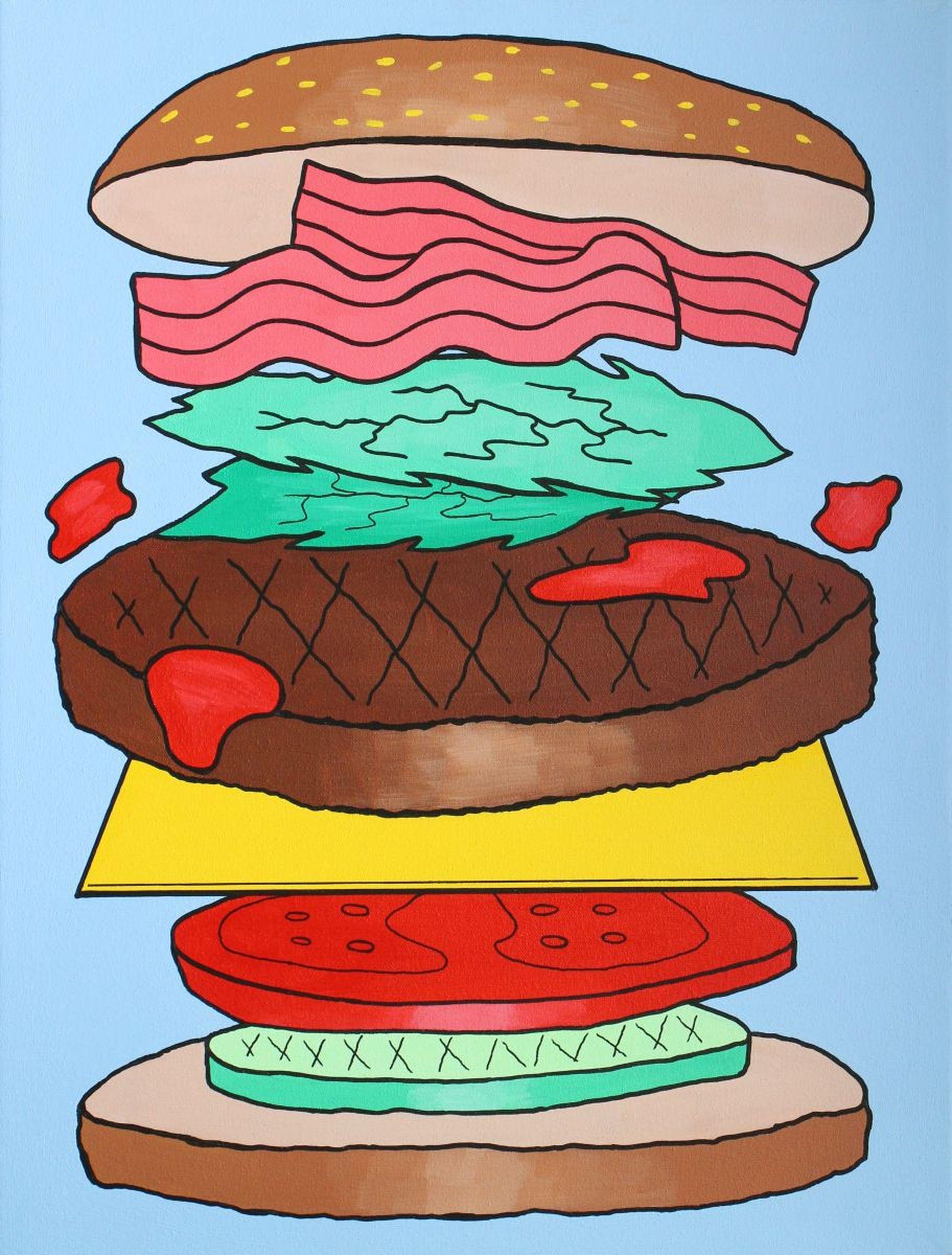 Large pop art painting. Burger clipart deconstructed