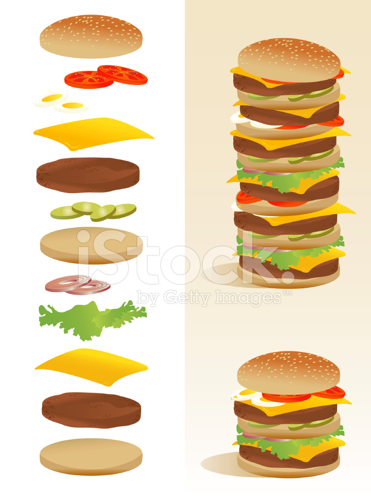 Deconstruction all ingredients separated. Burger clipart deconstructed
