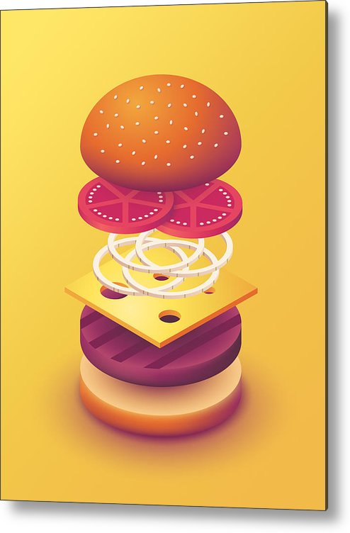 Burger clipart deconstructed. Isometric yellow metal print