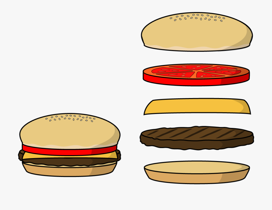 Burger clipart deconstructed. Hamburger bun patty
