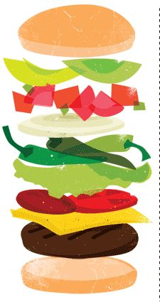 By nicolo gomez art. Burger clipart deconstructed