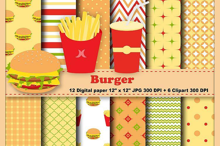 Burger clipart digital. Urger paper fast food