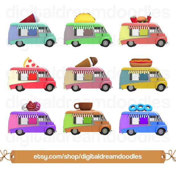 Food truck clip art. Burger clipart digital