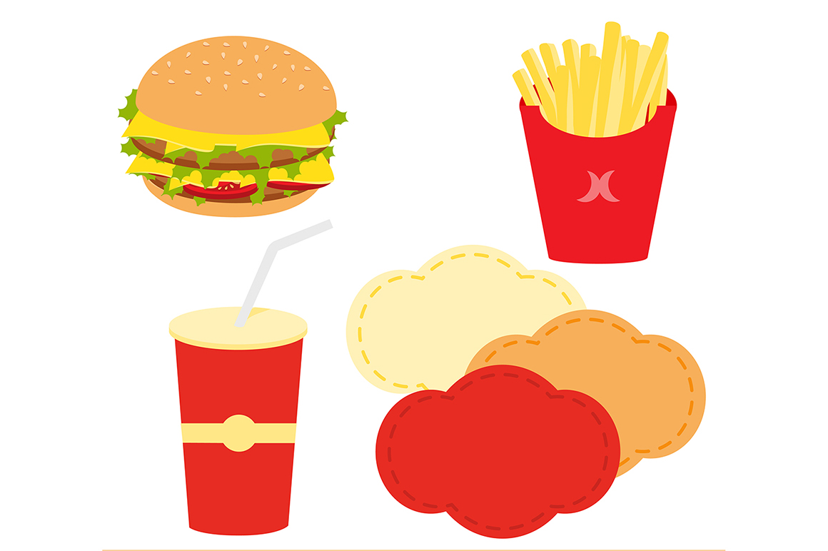 Paper fast food pattern. Burger clipart digital