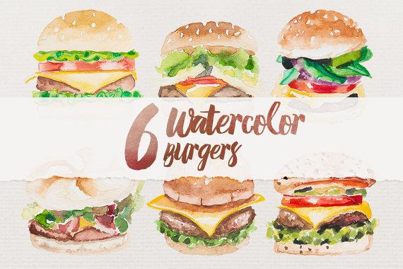 Burger clipart digital.  watercolor burgers food