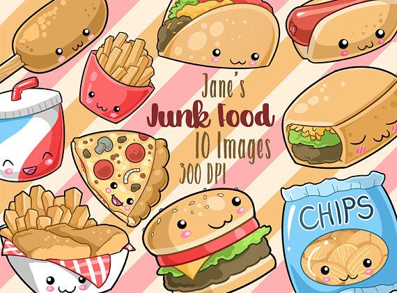 Burger clipart digital. Kawaii junk food cute