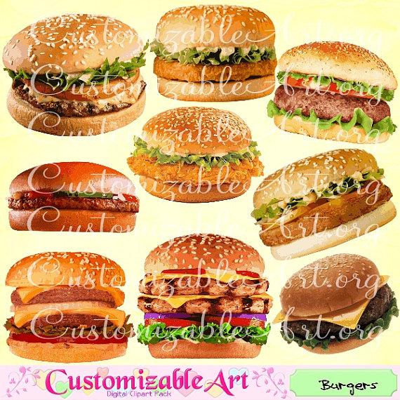 Burger clipart digital. Burgers clip art hamburger