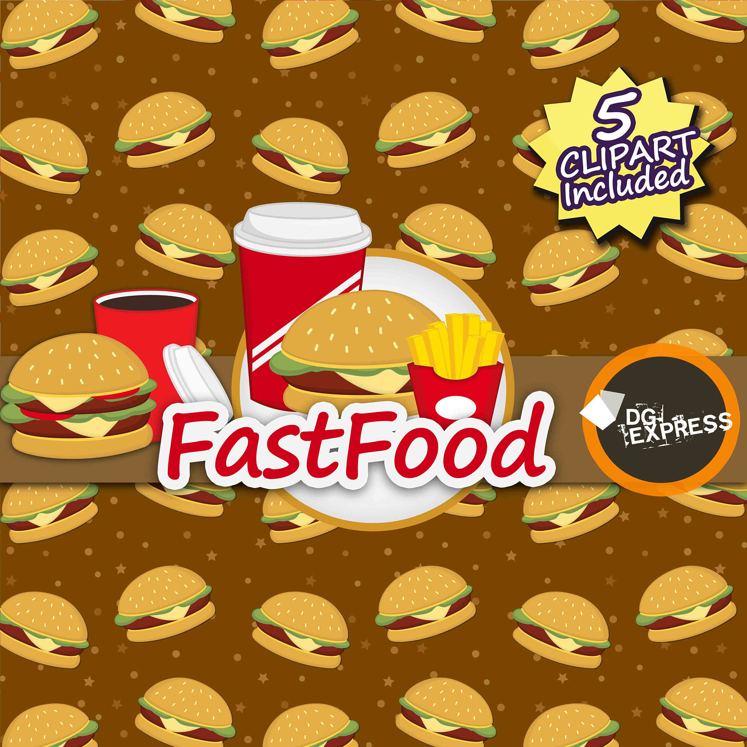 Burger clipart digital. Fastfood paper this is