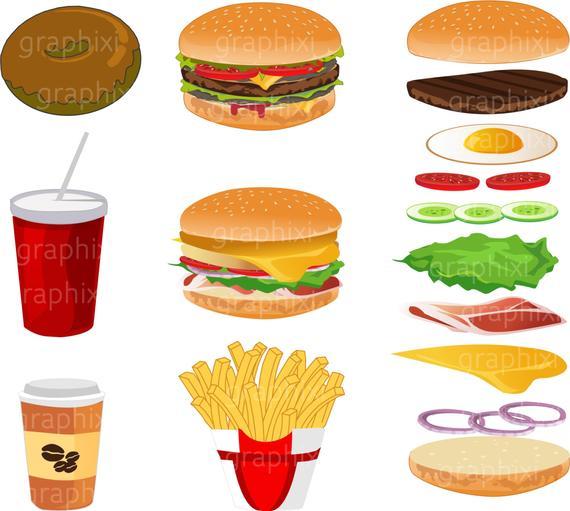 Vector . Burger clipart digital
