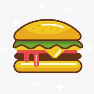 Hamburger fast food cheeseburger. Burger clipart easy