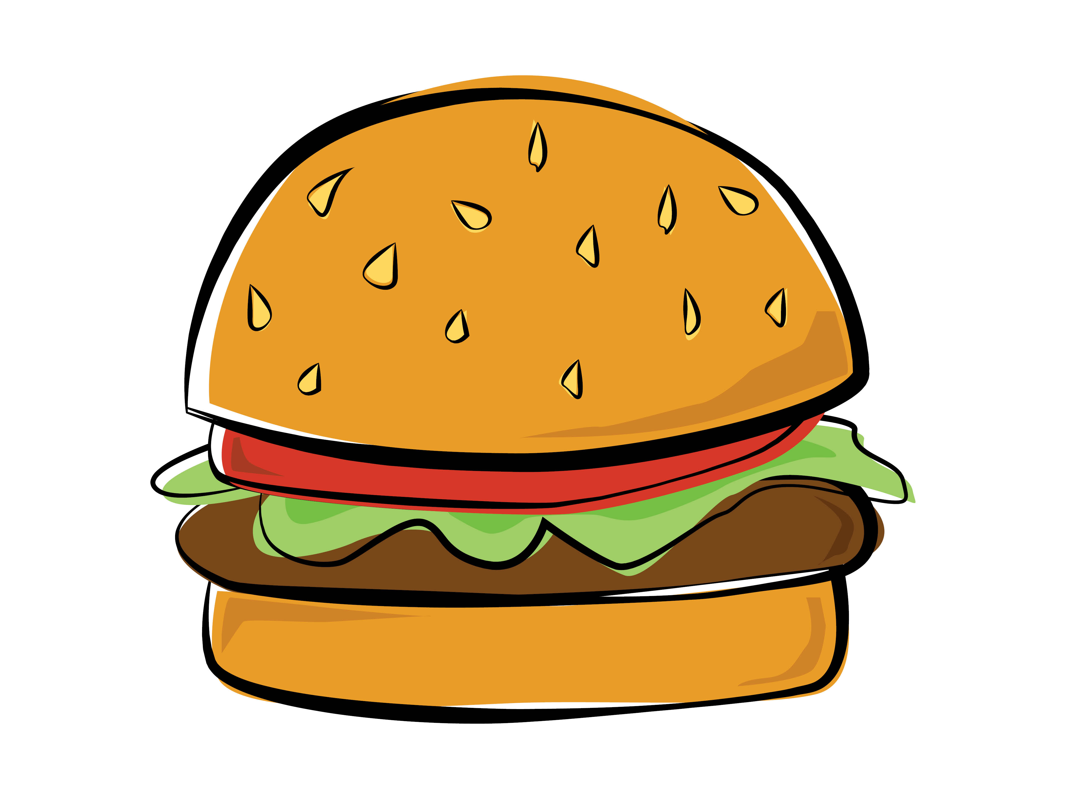 Burger clipart easy. Drawing at getdrawings com