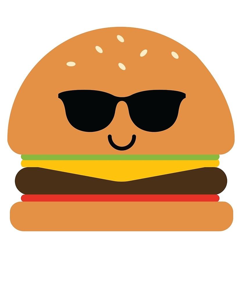 Burger clipart emoji. Cool sunglasses by teeandmee