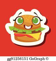 Burger clipart eye. Eps illustration sandwich in