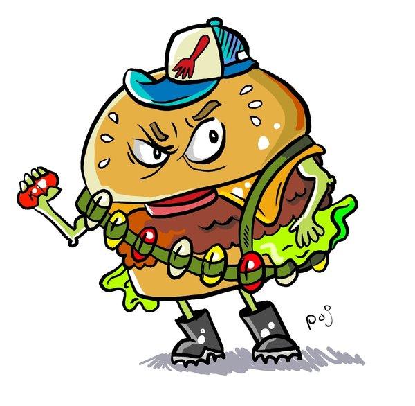 Angry . Burger clipart eye