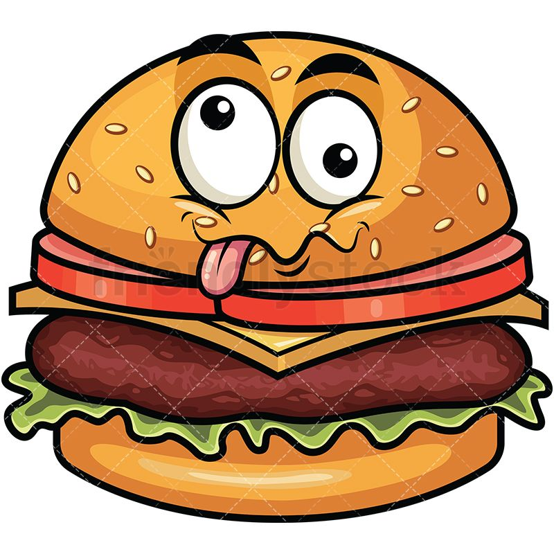 Goofy crazy eyes hamburger. Burger clipart eye