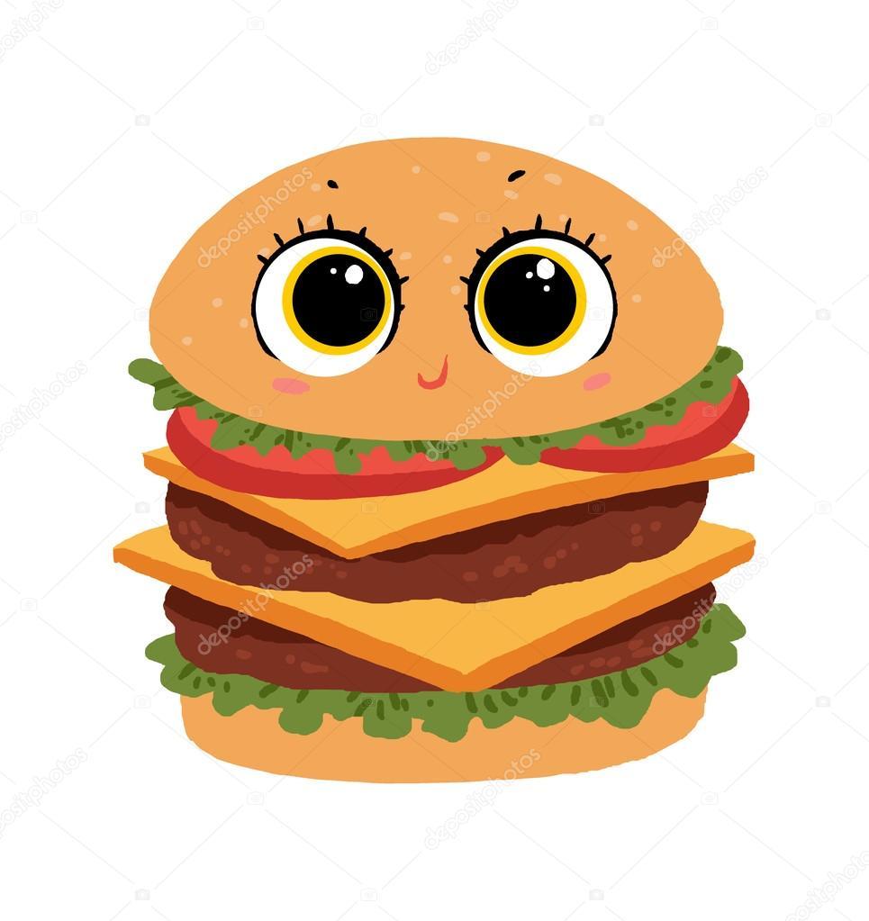 Cute cartoon illustration stock. Burger clipart face