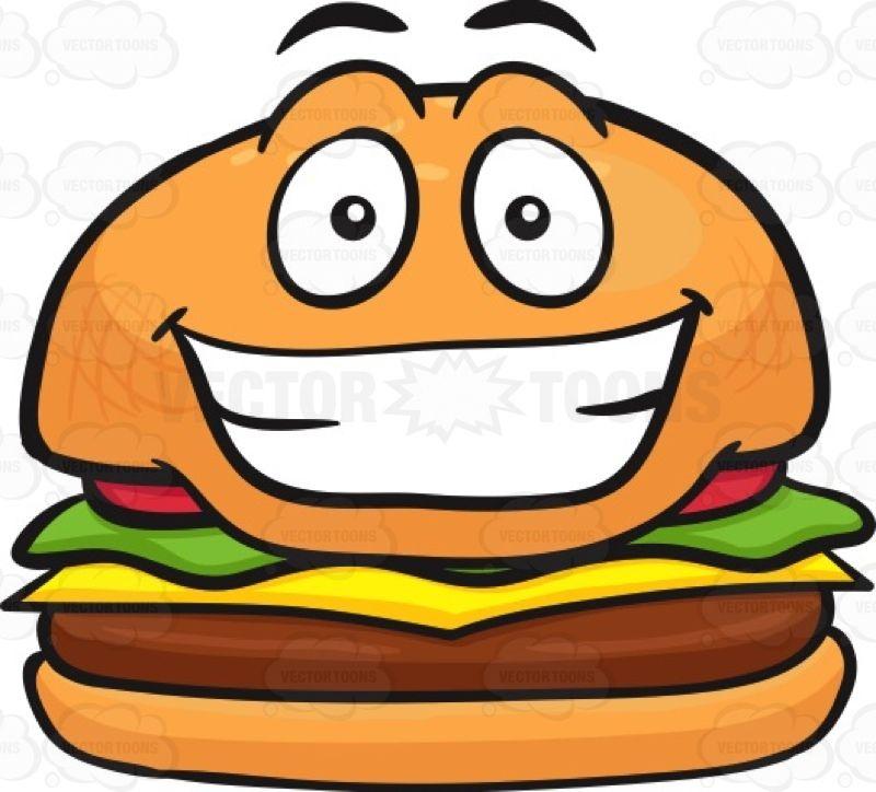 Hamburger with a large. Burger clipart face