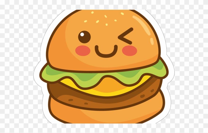 Drawn cute with a. Burger clipart face