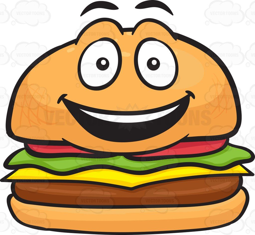 Burger clipart face. Happy cheeseburger with delighted