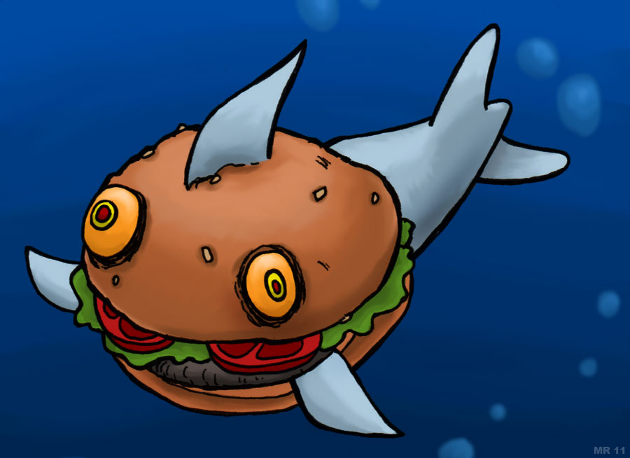 Burger clipart fish. Freaks mutants and monsters