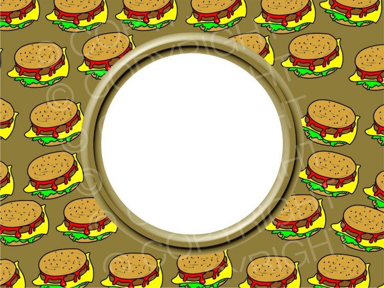 Tasty cheese photo border. Burger clipart frame
