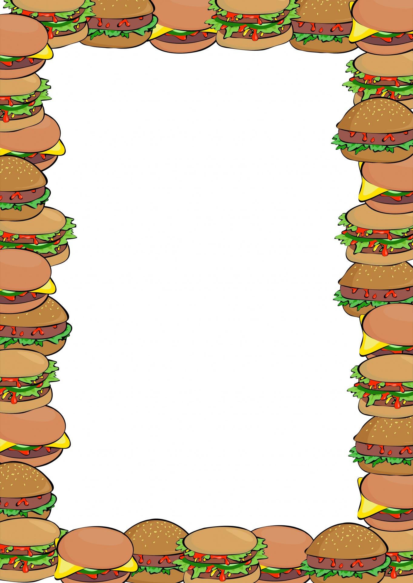 Border free stock photo. Burger clipart frame