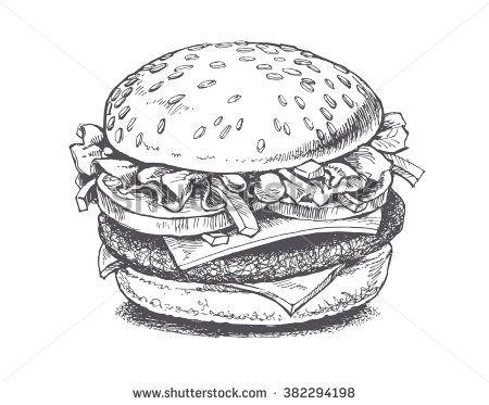 Burger clipart line drawing. Stock vectors vector clip