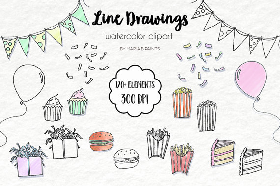 Clip art drawings painted. Burger clipart line drawing