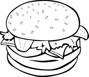 Pin by jurene ong. Burger clipart line drawing