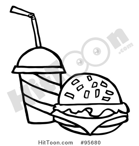 Burger clipart outline. Outlined cheeseburger served with