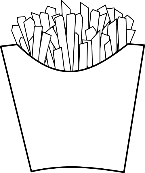 Home fry and fries. Burger clipart outline