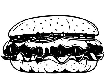 Burger clipart outline. Black and white the