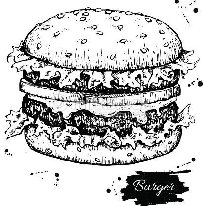 Burger clipart outline. Hamburger drawing at getdrawings