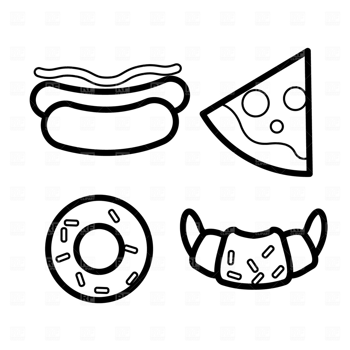 Hot dog pencil and. Burger clipart outline