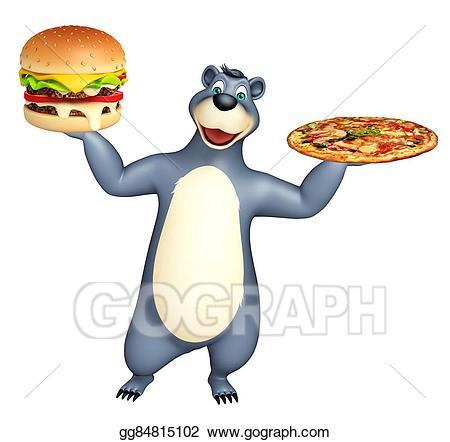 Burger clipart pizza burger. Stock illustration cute bear