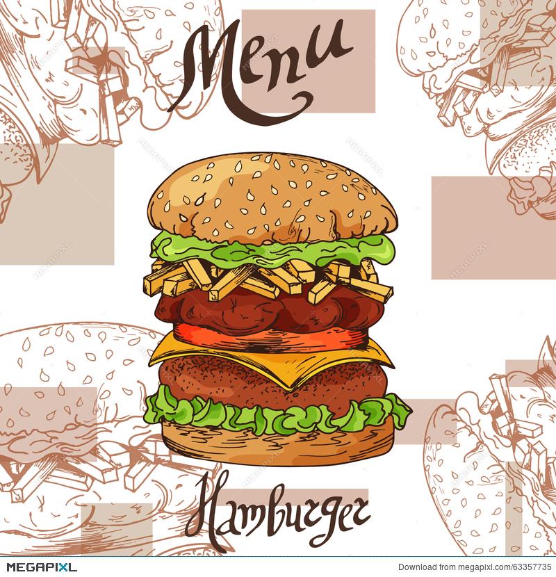 burger clipart retro