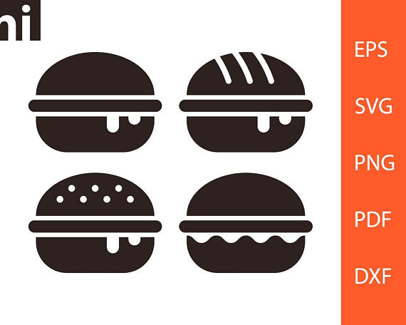Burger clipart silhouette. Hamburger dining svg vector