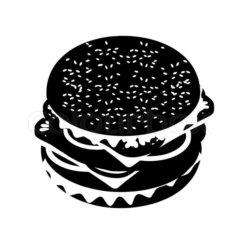 Burger clipart silhouette. Stock vector of hamburger