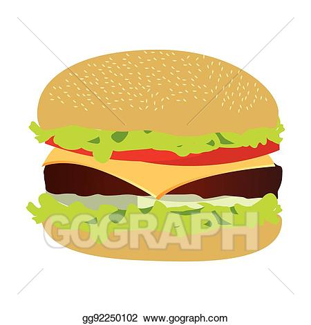 Burger clipart silhouette. Eps vector colorful with